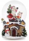 """Декоративний водяний шар """"Санта зі Сніговиком на даху"""" 14.5см, музичний"""