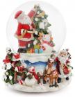 """Декоративний водяний шар """"Санта прикрашає ялинку"""" 15.5см, музичний"""