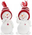 """Новорічна декоративна фігурка """"Сніговик у в'язаній шапці"""" 7.5х6х11.5см"""