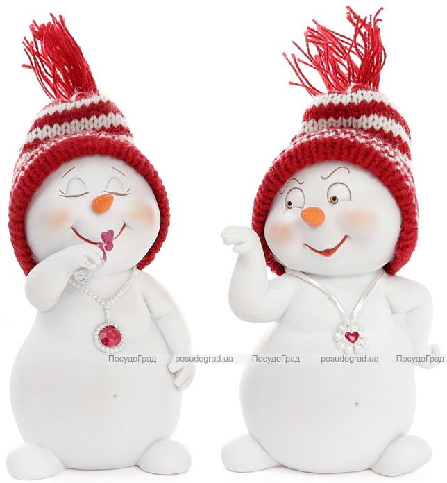 "Новогодняя декоративная фигурка ""Снеговик в вязаной шапке"" 7.5х6х11.5см"