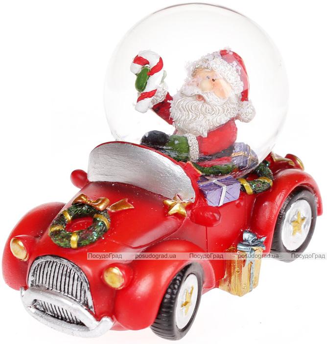 """Декоративный водяной шар """"Санта в автомобиле"""" 9см"""