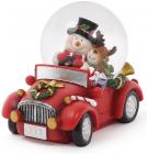 """Декоративний водяний шар """"Сніговик з Оленем в автомобілі"""" 11см"""