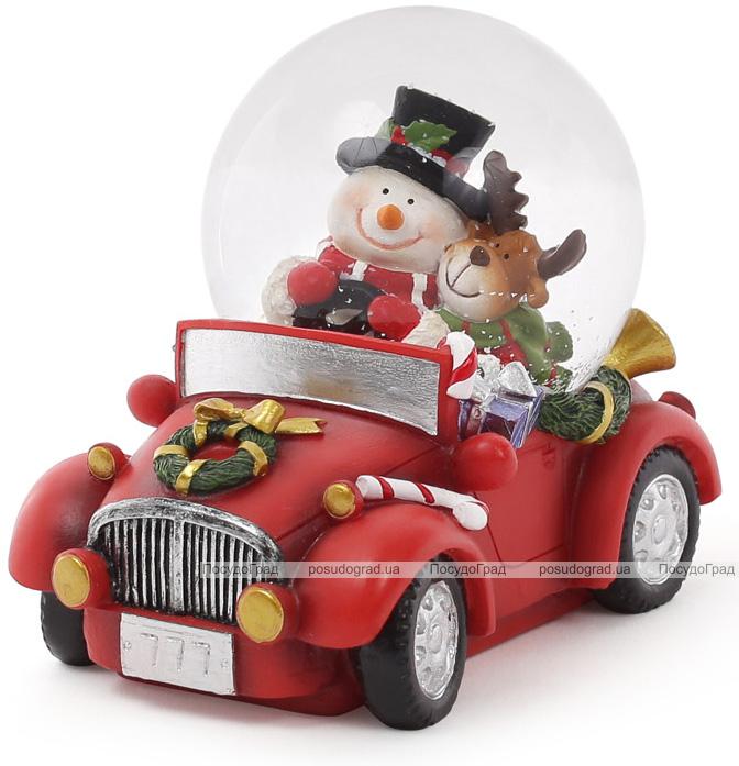"""Декоративный водяной шар """"Снеговик с Оленем в автомобиле"""" 11см"""