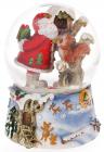 """Декоративний водяний шар """"Санта роздає подарунки"""" 14.5см, музичний"""