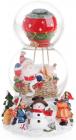 """Декоративний водяний шар """"Санта на повітряній кулі"""" 20.5см, музичний"""
