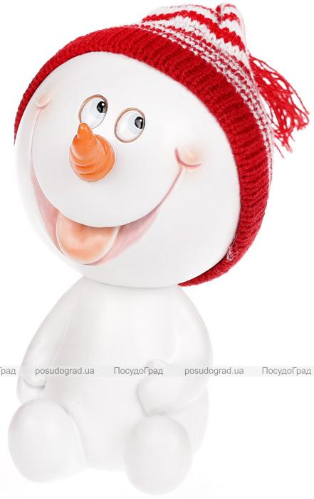 """Статуэтка """"Снеговик в красной шапке"""" 16см"""