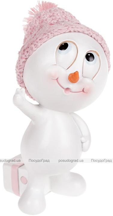 """Статуэтка """"Снеговик в розовой шапке"""" 14.5см"""