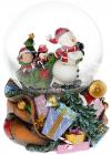 """Декоративний водяний шар """"Сніговик з мішком подарунків"""" 14.5см, музичний"""