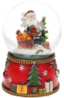 """Декоративний водяний шар """"Санта з саньми"""" 15.5см, музичний"""