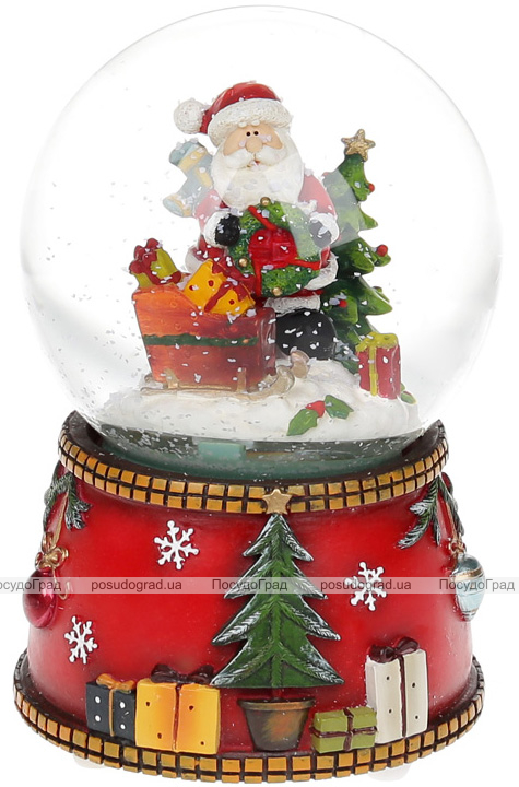 """Декоративный водяной шар """"Санта с санями"""" 15.5см, музыкальный"""