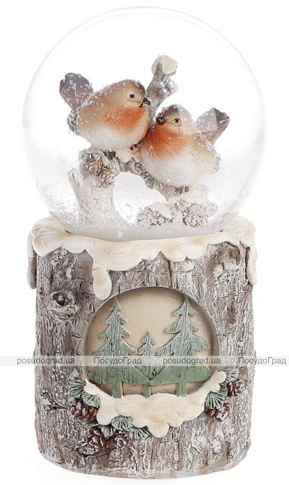 """Декоративный водяной шар """"Снегири"""" 15см с LED-подсветкой"""