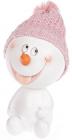 """Статуэтка """"Снеговик в розовой шапке"""" 16см"""