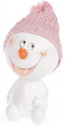 """Статуетка """"Сніговик в рожевій шапці"""" 16см"""