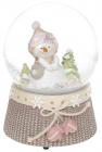 """Декоративный водяной шар """"Снеговичок с розовыми рукавицами"""" 14.5см, музыкальный"""