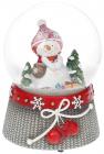 """Декоративний водяний шар """"Сніговичок з червоними рукавицями"""" 14.5см, музичний"""