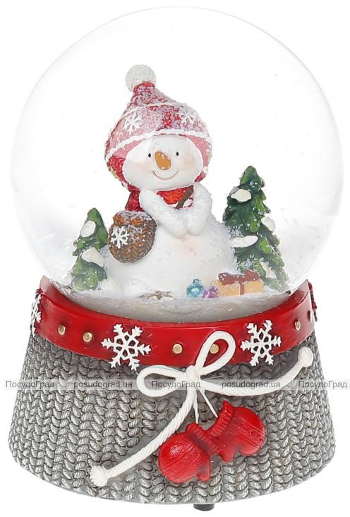 """Декоративный водяной шар """"Снеговичок с красными рукавицами"""" 14.5см, музыкальный"""