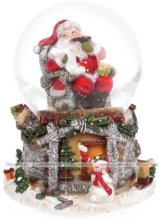 """Декоративный водяной шар """"Санта у камина"""" 16.5см, музыкальный"""