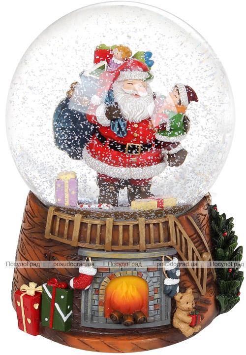"""Декоративный водяной шар """"Санта с Малышом"""" 14.5см, музыкальный"""