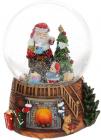 """Декоративный водяной шар """"Санта украшает елочку"""" 14.5см, музыкальный"""