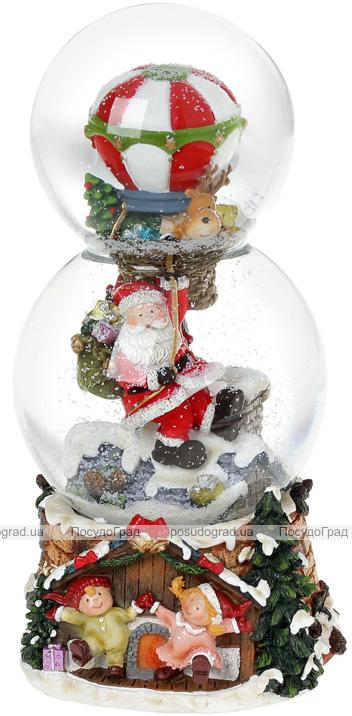 """Декоративна водяна куля """"Санта на повітряній кулі"""" 21.5см, музична"""