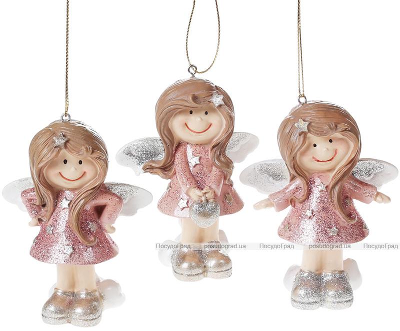"""Набор 3 подвесные фигурки """"Ангелочек"""" Pink&Silver 7.5х5.5х10см"""