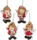 """Набор 4 подвесные фигурки """"Ангел-милашка"""" 8х6.5х10.5см, полистоун, красный с белым"""