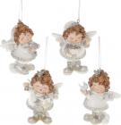 """Набор 4 подвесные фигурки """"Ангел-милашка"""" 8х6.5х10.5см, полистоун, белый с золотом"""