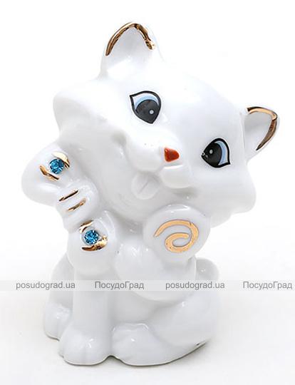 """Фарфоровая статуэтка """"Кошка"""" 7.2см, фарфор с декоративными стразами"""