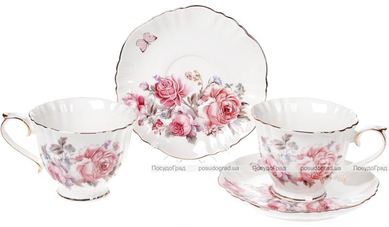"""Чайный фарфоровый сервиз """"Версаль"""" 6 чашек 250мл и 6 блюдец Ø15см"""