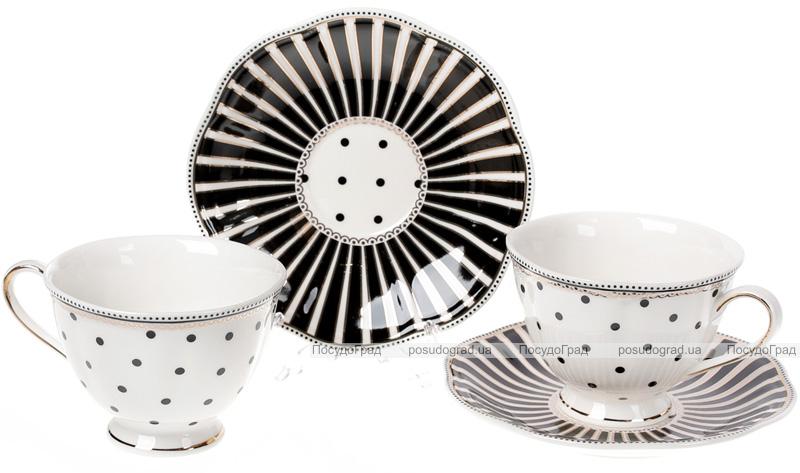 """Чайный фарфоровый сервиз """"Версаль. Минималист"""" 6 чашек 250мл и 6 блюдец Ø15см"""
