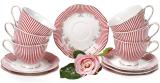 """Чайний порцеляновий сервіз """"Версаль. Фрагонар"""" 6 чашок 250мл і 6 блюдець Ø15см"""