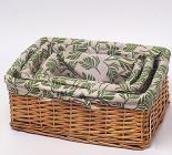 """Набор из трех открытых корзин для белья """"Листья бамбука"""""""