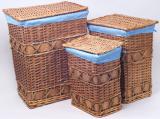 Набор из трех закрытых корзин для белья Голубой горошек