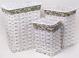 Набор из трех закрытых корзин для белья Листья бамбука
