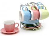 """Чайний набір """"В'язаний орнамент"""" 6 чашок 275мл і 6 блюдець на підставці"""