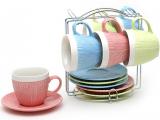 """Чайный набор """"Вязаный орнамент"""" 6 чашек 275мл и 6 блюдец на подставке"""
