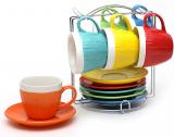 """Чайний набір """"В'язаний орнамент"""" 6 чашок 275мл і 6 блюдець на підставці (яскравий)"""