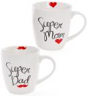 """Кружка фарфоровая """"Моя супер семья"""" 520мл (""""Super Dad"""" & """"Super Mom"""")"""