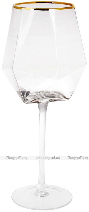 Набор 4 фужера Celine бокалы для вина 650мл, стекло с золотым кантом
