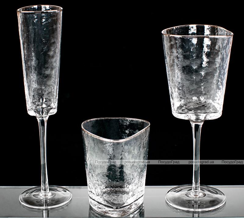 Набір 4 склянки Monaco Ice 350мл, скло з срібним кантом