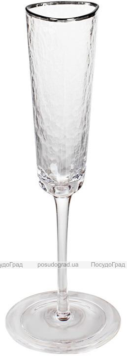 Набор 4 фужера Monaco Ice бокалы для шампанского 165мл, стекло с серебряным кантом