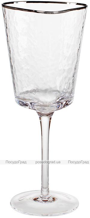 Набір 4 фужера Monaco Ice келихи для вина 400мл, скло з срібним кантом