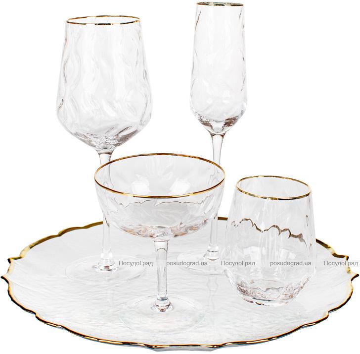 Набір 4 келиха Avril для червоного вина 600мл, скло із золотим декором