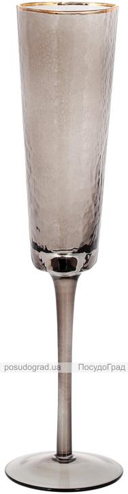 Набор 4 фужера Smoke Ice бокалы для шампанского 200мл, стекло с золотым кантом