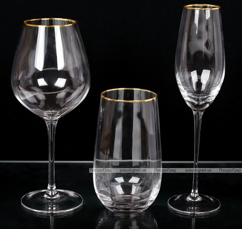 Набір 4 фужера Monica келихи для вина 570мл, скло із золотим кантом