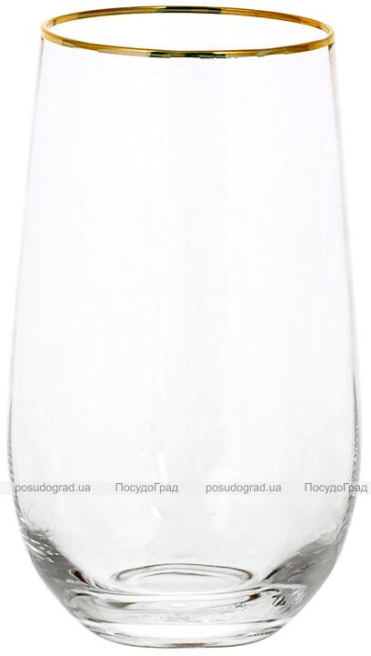 Набір 4 склянки Monica 600мл, скло з золотим кантом