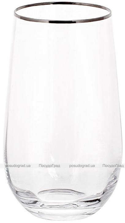 Набор 4 стеклянных стакана Monica 600мл с серебряным кантом