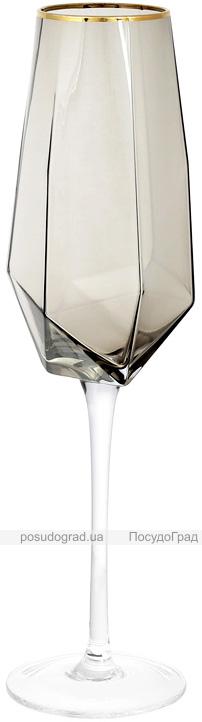 Набір 4 фужера Clio келихи для шампанського 370мл, димчасте скло з золотим кантом