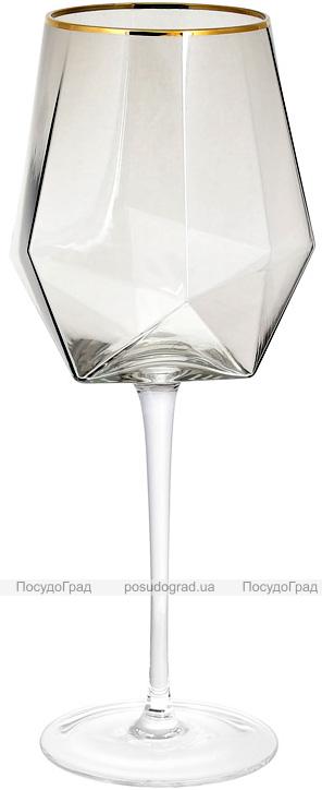 Набор 4 фужера Clio бокалы для вина 670мл, дымчатое стекло с золотым кантом