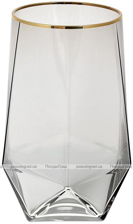 Набор 4 стакана Clio 700мл, дымчатое стекло с золотым кантом